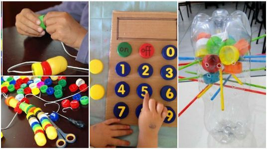 15 Divertidos Juguetes Educativos que Puedes Hacer con las Tapas de Plástico