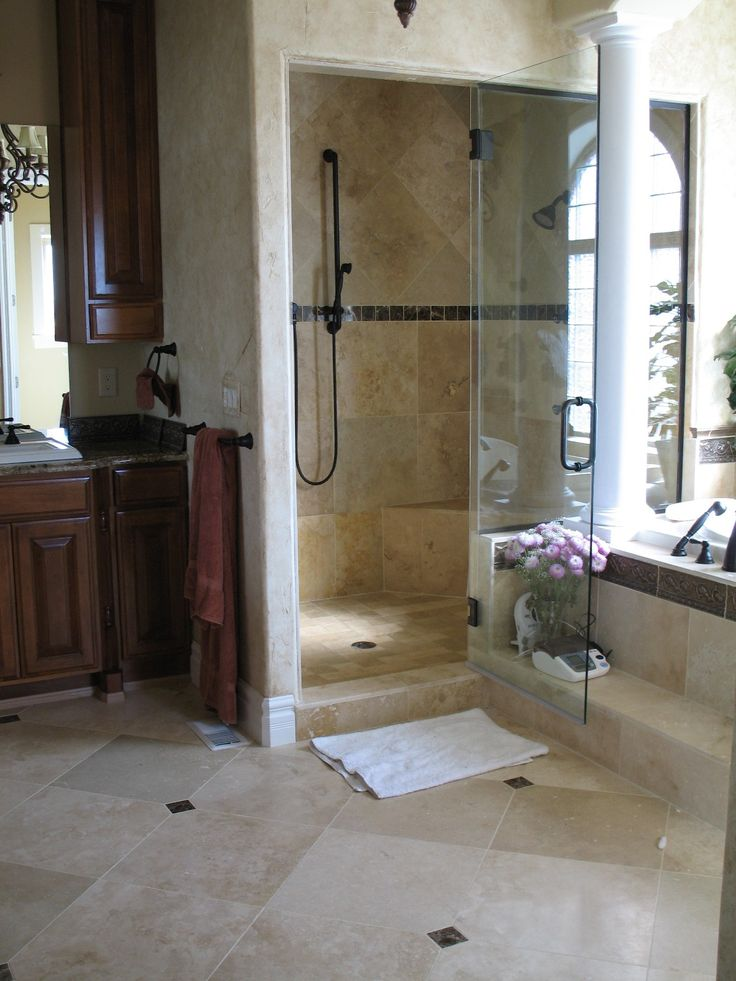 16 best images about travertine bathroom ideas on for Master bathroom flooring
