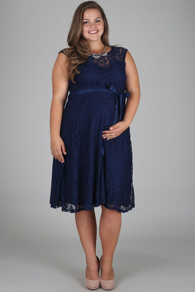 Navy blue lace plus size maternity dress wedding dress for Plus size maternity wedding dresses