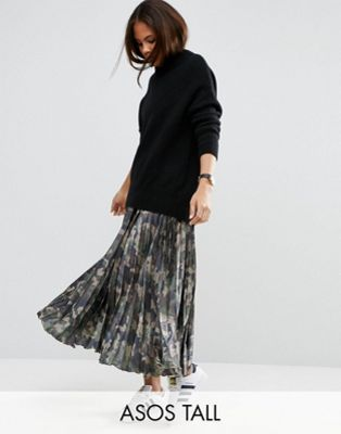 ASOS TALL Pleated Skirt in Satin with Camo Print