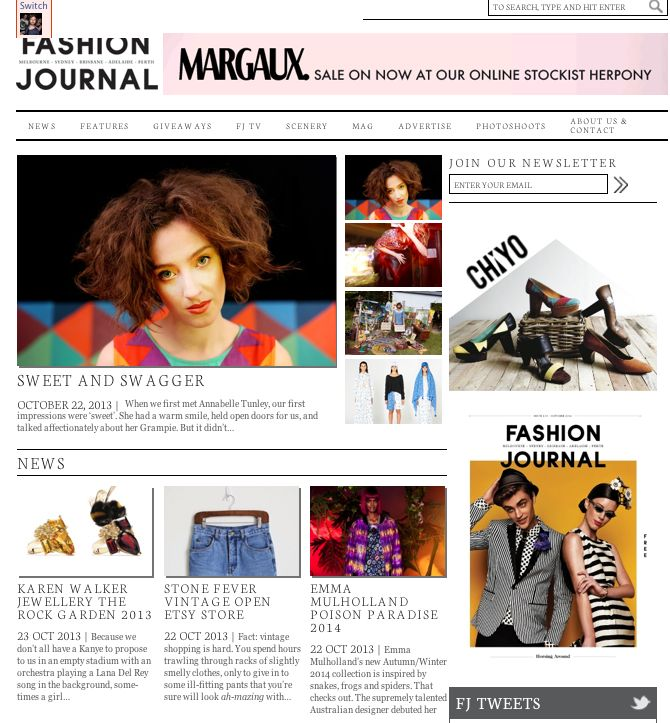 Fashion Journal - Feature Interview: http://fashionjournal.com.au/2013/10/22/sweet-and-swagger/