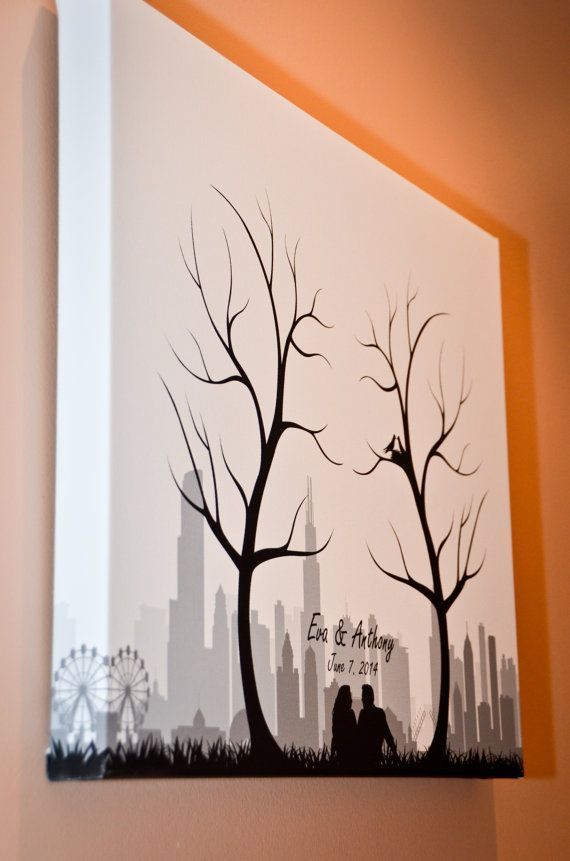 Canvas Thumbprint Fingerprint Trees and Your City Skyline Wedding Guest Book Alternative - Choose Any City