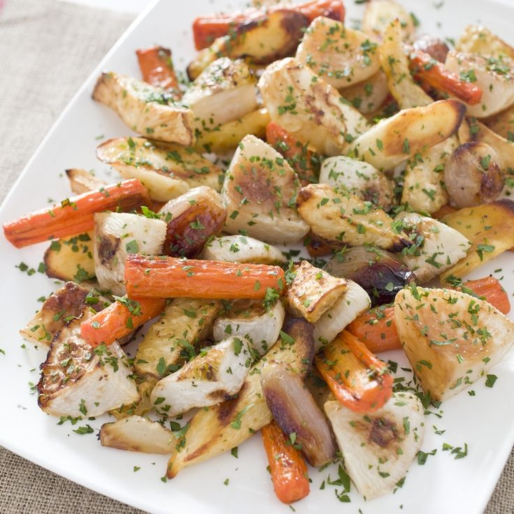 Perfect Roasted Root Vegetables: replace turnip with sweet potatoes