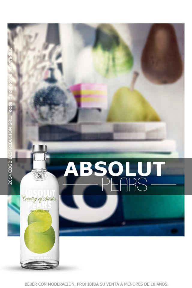 Absolut Pears tiene un sabor fresco y delicado de peras maduras, con un intenso gusto a frutas. Se puede beber solo con hielo y tiene una amplia gama de combinaciones para realizar diferentes tragos. Al igual que todos los miembros de la familia Absolut Vodka, se hace exclusivamente a partir de ingredientes naturales y no contiene azúcar añadido ni edulcorantes.
