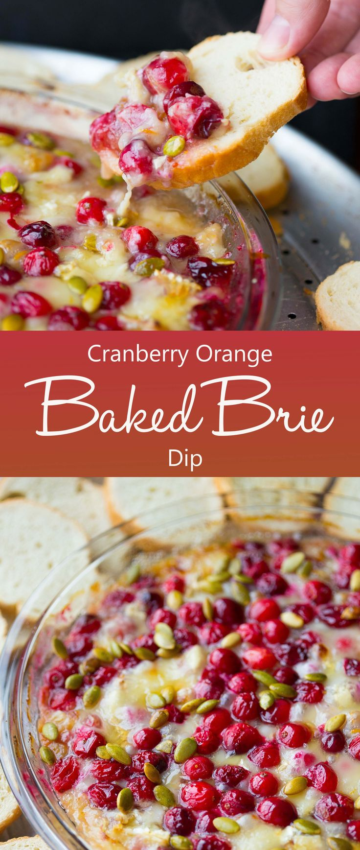 Cranberry orange baked brie dip is a super easy, fun, and festive holiday appetizer recipe that's perfect for your Thanksgiving or Christmas feast!