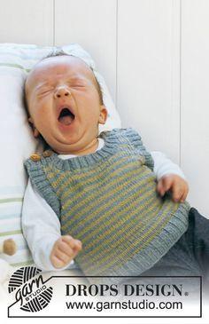 Stickad väst med ränder till baby och barn i DROPS BabyAlpaca Silk