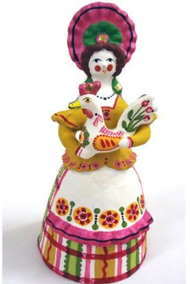 A Lady with a Cock. It's a Dymkovo toy – a hand-painted clay toy from the Russian village of Dymkovo. #folk #art #Russian #toy