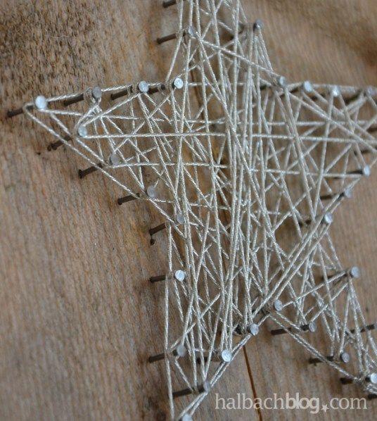 halbachblog I DIY I Stern I Silberkordel I Nägel I Holzbrett I Detail