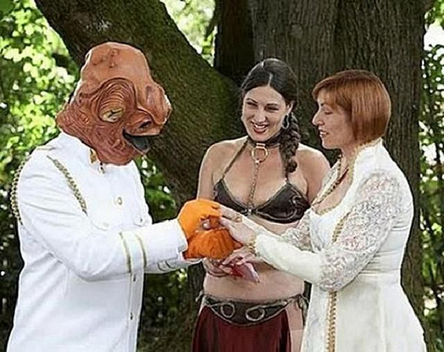 "Once upon a time, in a galaxy far, far away... two Star Wars nerds decided to tie the knot the goofiest way possible.  Obligatory: ""It's a TRAP!"" (Sorry, I had to do it. One does not see Admiral Ackbar without saying that line.)"