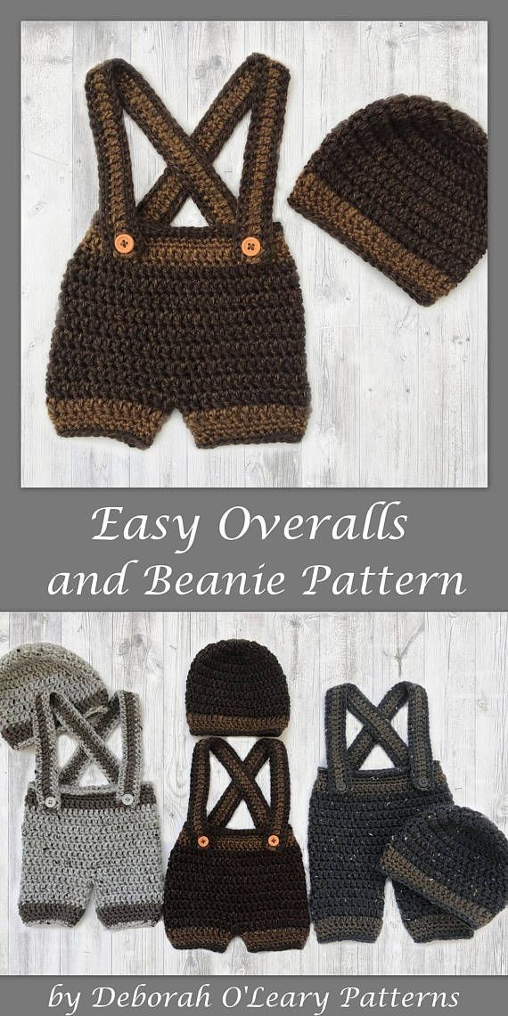 Crochet Baby Beanie - Pants  -Shorts - Overalls Pattern by Deborah O'Leary Patterns #crochet #overalls #newborn #baby #easy