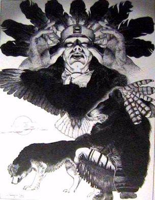 """Glooscap""   Painting by noted Mi'kmaq Artist Leonard Paul"