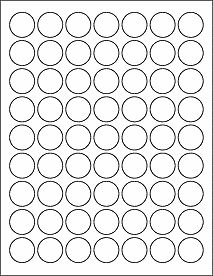 "63 1"""" Blank White Circle Labels"