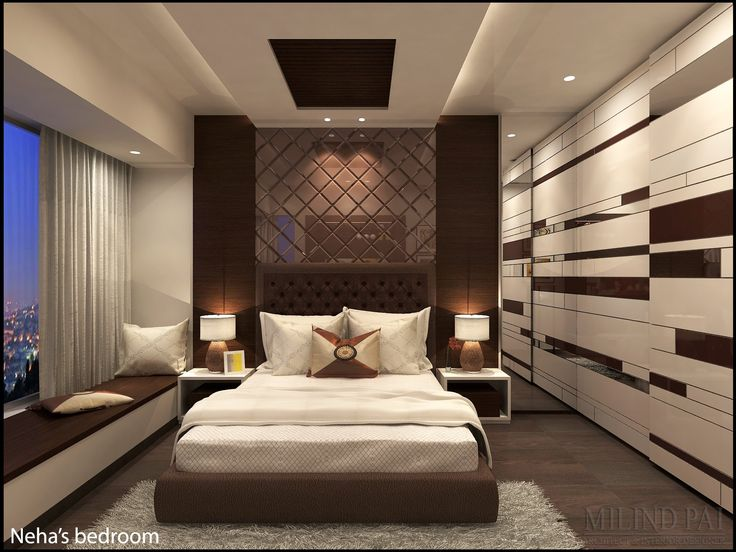 At the end of a long hard day there is nothing better than lying down on fresh bedding and crisp sheets in a bedroom designed for your comfort. This stylish yet functional and calming bedroom is designed for a young working couple in their new apartment in Mumbai.