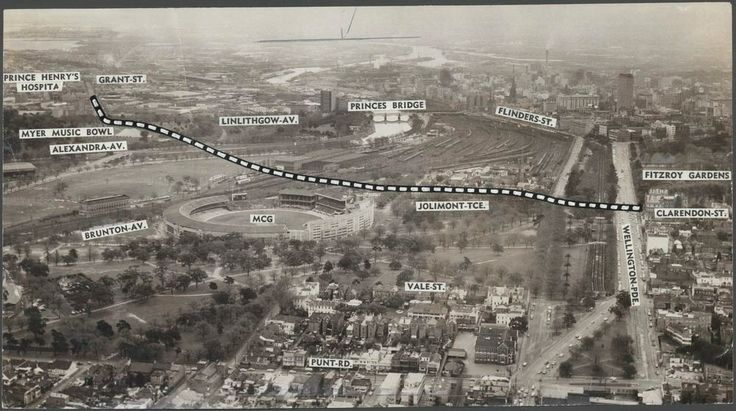 Elevated view of Jolimont towards the city, with proposed ring road indicated, extending from Clarendon Street, East Melbourne to Grant Street, South Melbourne 1963.  Herald & Weekly Times Limited collection, H2004.101/257, State Library of Victoria.