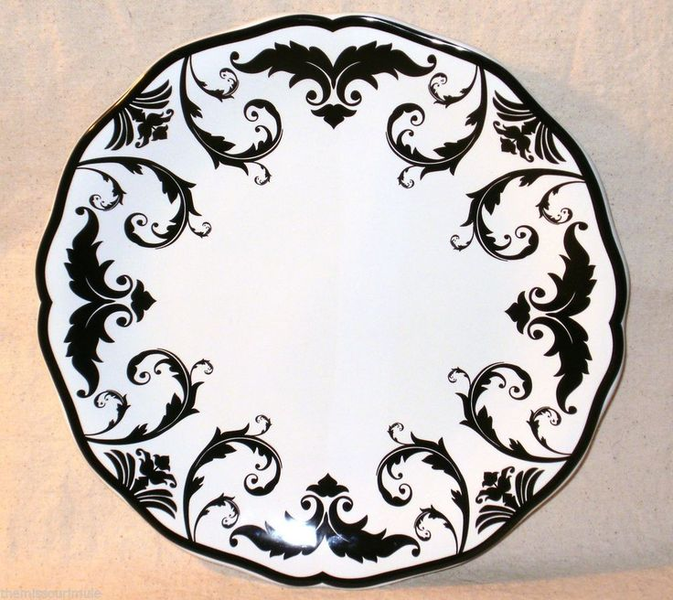 NEW~Classy Black White Toile Damask 11  Dinner Plate Ceramic Decorative : damask dinner plates - pezcame.com