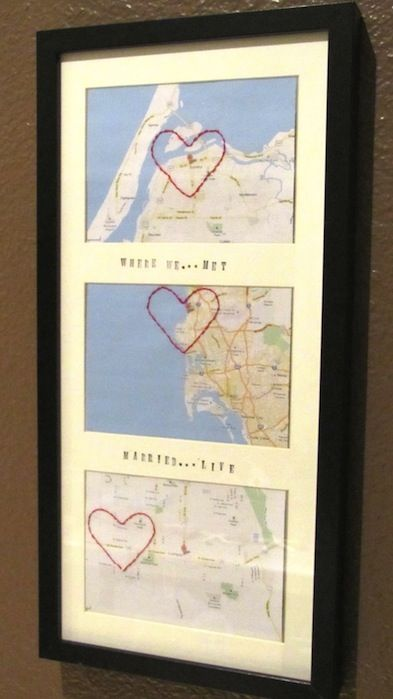 Love *Heart* Map Frame - possible anniversary gift. Since he loves maps. For our 4 year! :) love this idea