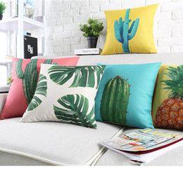 Sud-Est asiatico piante tropicali foglie verdi cuscini Copricuscino cotone cactus Ananas Candy Colore copertura del cuscino divano in lino