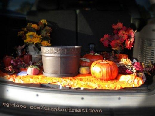 fall pumkin leaves car trunk or treat theme decor