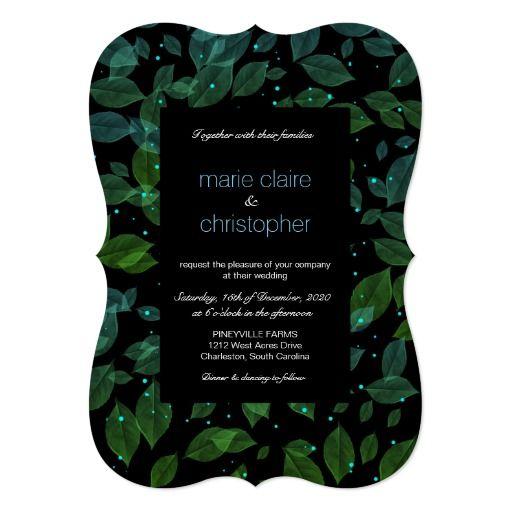 Aqua & Green Pastel Leaves Fall Wedding Romantic Invitation