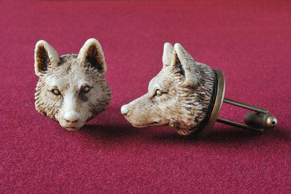 Wolf MAN Cufflinks - Victorian synthetic ivory hand made cuff links on Etsy, £20.33