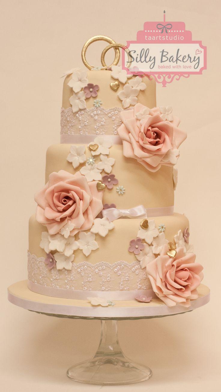 Romantic wedding cake, bruidstaart www.sillybakery.nl
