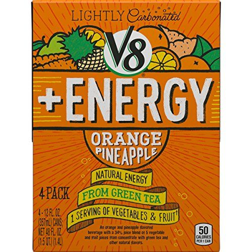 V8  Energy Lightly Carbonated, Orange Pineapple, 12 Ounce, 4 Count >>> You can get additional details at the image link.