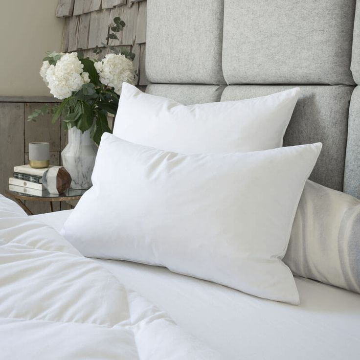 Luxuriously soft goose feather down pillow with 90% white goose feather and, 10% white goose down.Features a white 100% cotton cover with fine double needle edging and piping.Dimensions:450mm x700mm