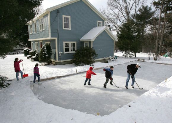 Homemade Ice Skating Rink   A Very Fond Memory Of Dad Making Us A Backyard  Skating Rink Over The Garden Plot.