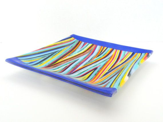 Colorful Striped Square Fused Glass Platter By Fostersbeauties