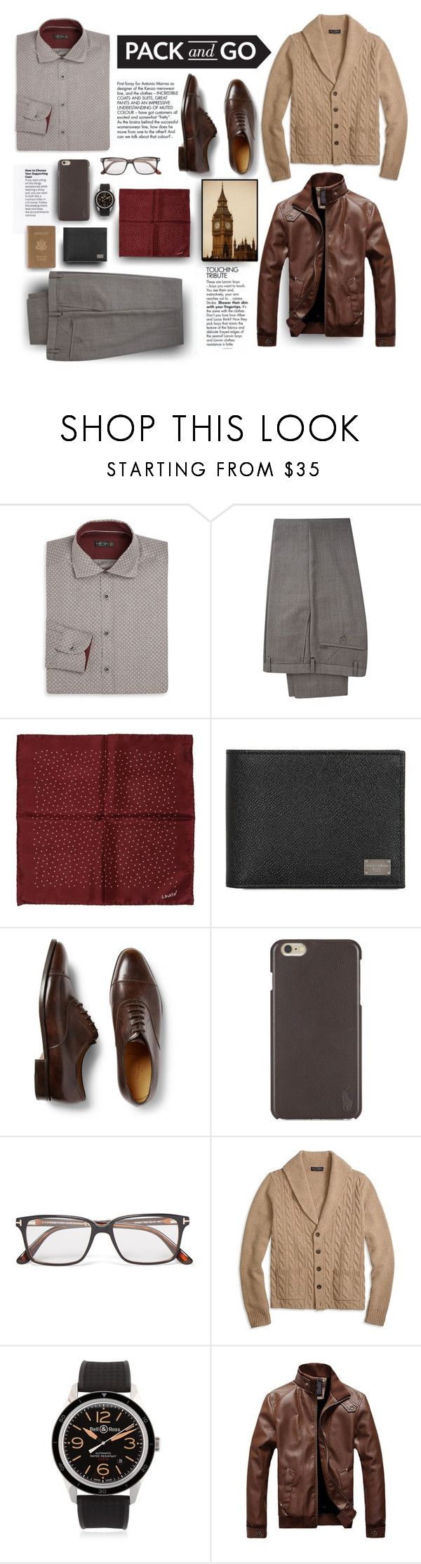 """""""Lad Go To London"""" by maggiecakes ❤ liked on Polyvore featuring Corneliani, DKNY, Lanvin, Dolce&Gabbana, Kenzo, John Lobb, Polo Ralph Lauren, Tom Ford, Brooks Brothers and Bell & Ross"""