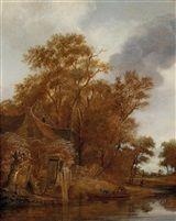 11 декабря.  Follower of Cornelis Gerritsz Decker (Dutch, 1625–1678) Title: Landschaft mit Bauernhütte an einem Fluss und Fährboot , ca. 1665