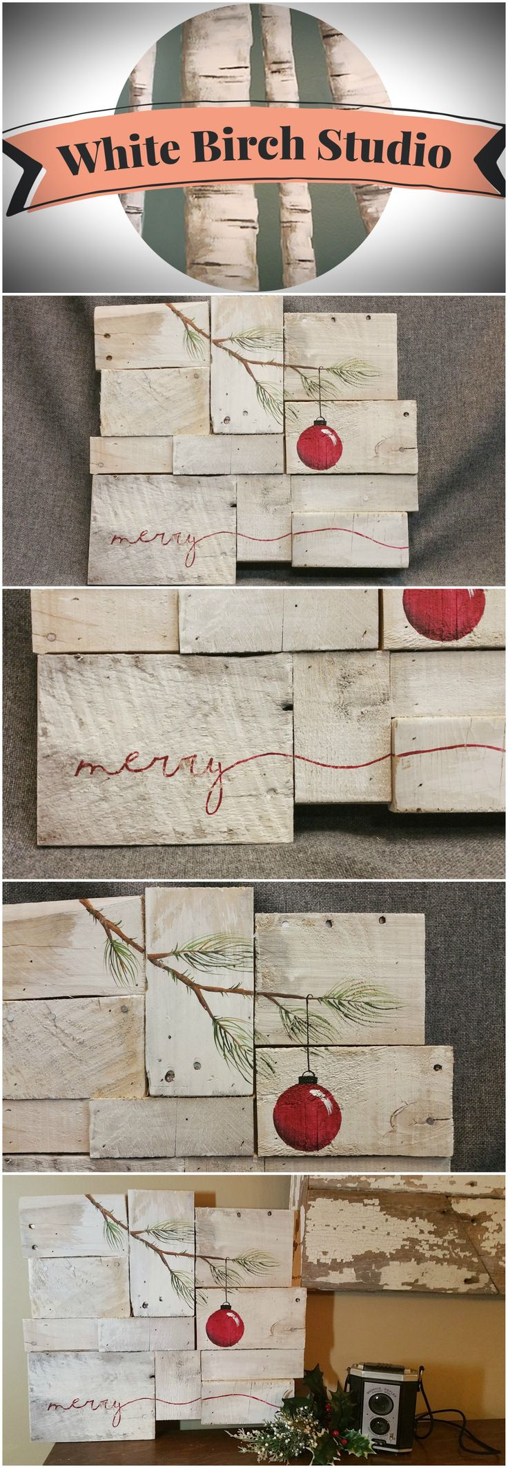 "Rustic Christmas decor, Pallet art, Farmhouse decor, One of a kind, merry, ORIGINAL, Christmas Hand painted, Shabbt chic, Distressed   This is the ORIGINAL, One of a kind for sale. Acrylic painting on reclaimed Pallet boards. This unique piece is appx. 16""wide x 14"" tall"