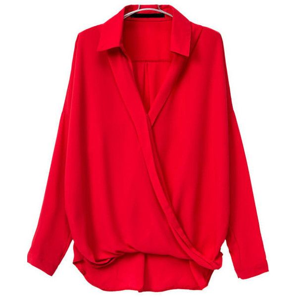 SheIn(sheinside) Red V Neck Long Sleeve Loose Blouse (€15) ❤ liked on Polyvore