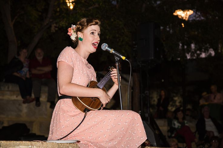 """The multi-talented Jess from the Darling Buds of May and her ukulele!  Limestone Concert """"Sunset Swing"""" - March 2014"""