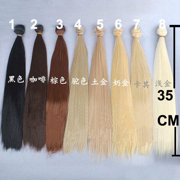 1 unidades de espesor bjd pelo 35 cm negro marrón lino naturales de oro de color resistente al calor peluca recta larga del pelo para 1/3 1/4 pelo de muñeca(China (Mainland))