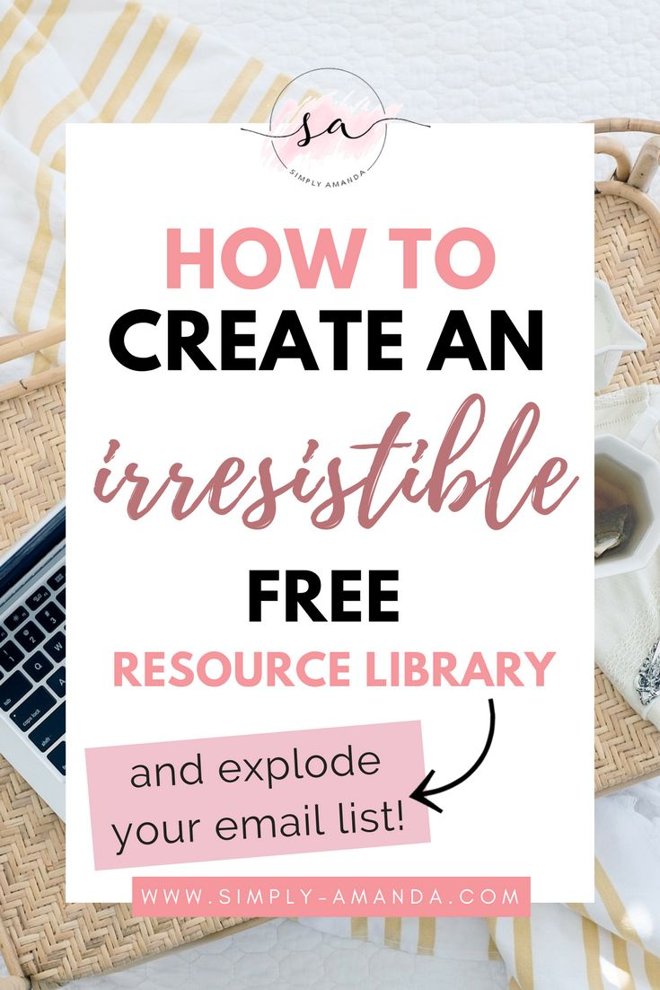 You know opt-in freebies are *the* best way to grow your email list. Click here to find out how you can compile your freebies into an irresistible free resource library + explode your email list! via simply-amanda.com