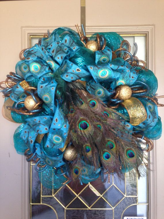 17 Best Ideas About Peacock Wreath On Pinterest Feather