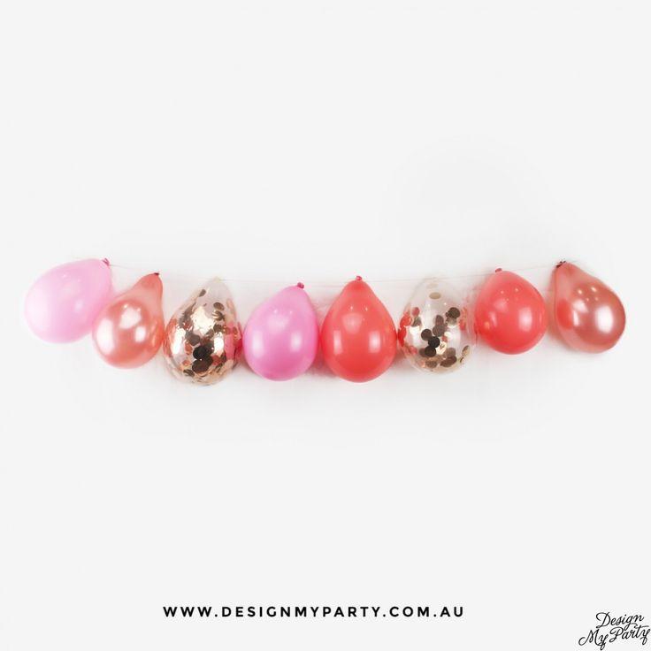 Pink, Coral & Rose Gold Balloon Garland