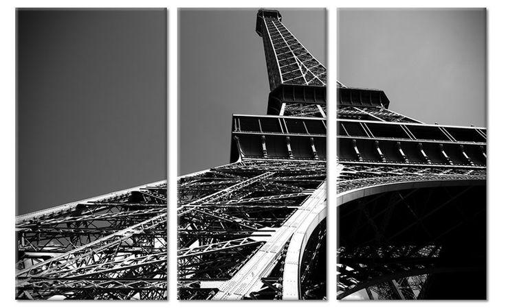 Zwart wit drieluik canvas Eiffeltoren