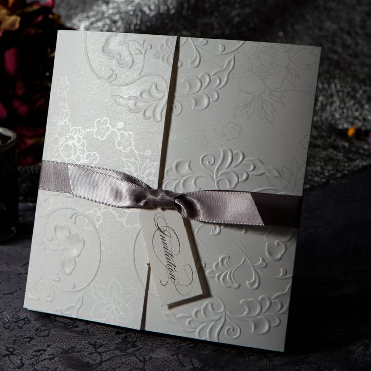 elegant embossed tri fold wedding invitations cards with customize printing with silver bows set of