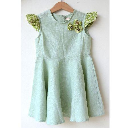 Flora Dress Linen dress with batik heart shaped accent