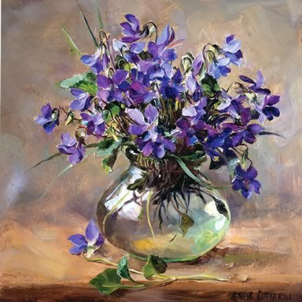 Purple Violets tarjeta de felicitaciones en blanco por Anne Cotterill Flower Art