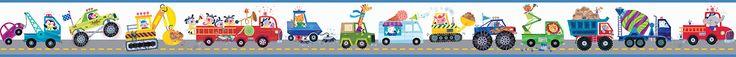 """Hide and Seek Riley Honk Honk Highway 15' x 6"""" Wildlife 3D Embossed Border Wallpaper"""