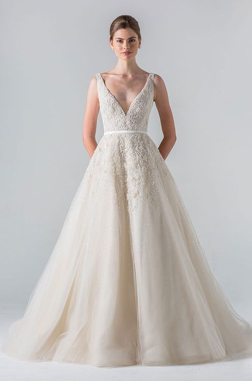 256 best tulle wedding dresses images on pinterest short wedding plunging v neck tulle gown of tone on tone beading with sheer beaded back junglespirit Choice Image