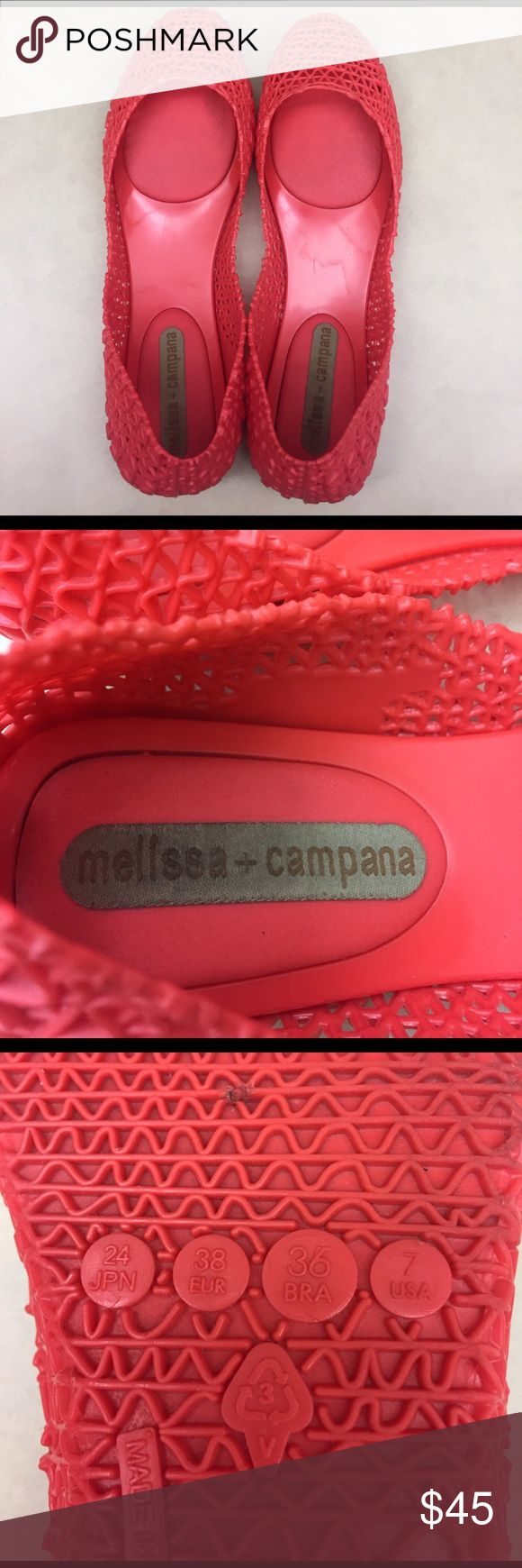 Melissa + Campana jelly flats Melissa + Campana jelly flats. Worn a couple of times. Cute with jeans, shorts, maxi dresses, skirts etc.  Very versatile and super comfortable! Melissa Shoes Flats & Loafers
