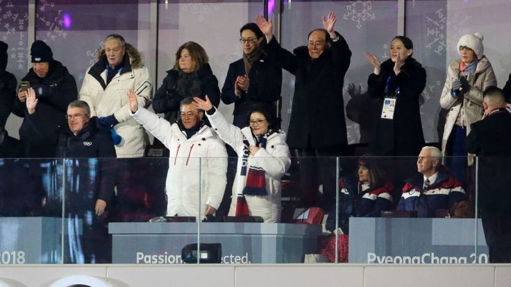 Pence refuses to stand for any country except US------IOC President Thomas Bach, President of South Korea Moon Jae-in, his wife Kim Jung-sook, President of North Korea Kim Yong-nam and Kim Yo-jong, sister of Kim Jong-un cheer Korean athletes while Vice President Mike Pence and his wife Karen look on