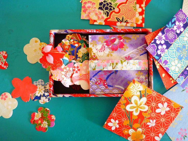 Papiers origami chiyogami traditionnels 6cm + stickers sakura et autres fleurs - Songe d'elfe
