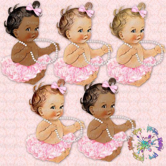 Ballerina Baby   Pearls Light Pink Tutu   Vintage Baby Girl   3 Skintones   Clipart  Instant Download PNG