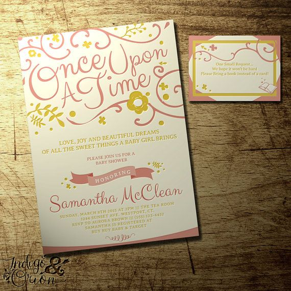 """Once Upon a Time baby shower invitation and """"Bring a Book"""" Insert card ,baby girl storybook theme, CUSTOM colors, digital printable file"""