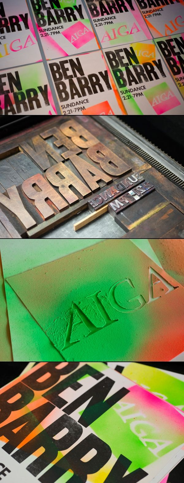 these posters with letterpress and spray-painted stencils. #graphic #design #posters
